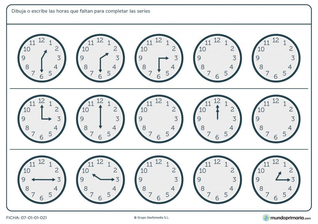 Ficha de series de relojes analógicos para niños de 5º de primaria