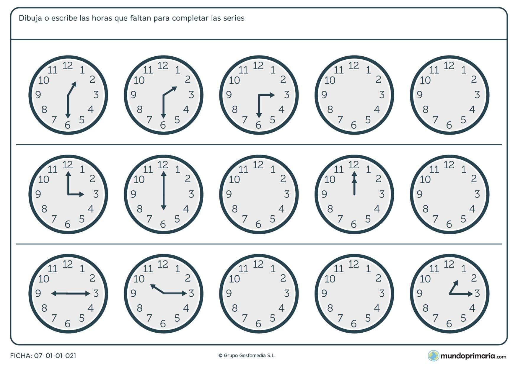 Ficha de series de relojes analógicos completa la hora siguiente