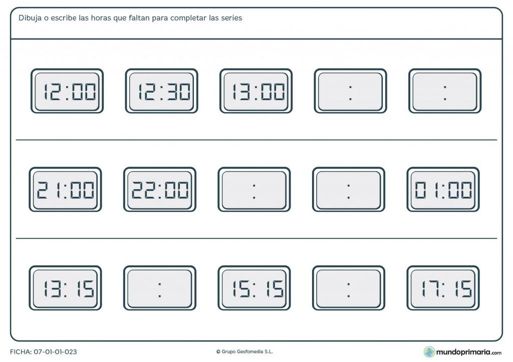 Ficha de series de relojes digitales para primaria