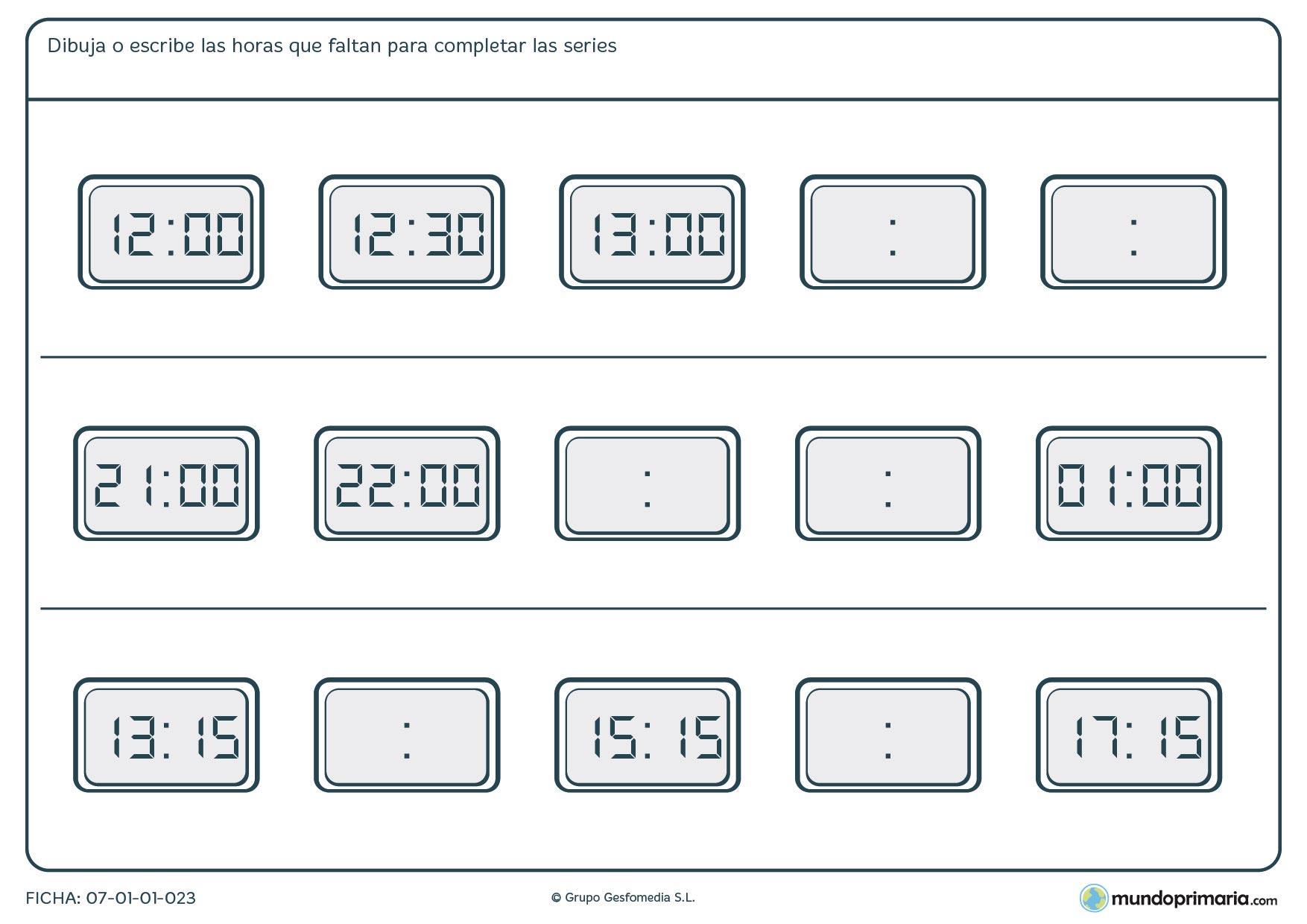 Ficha de series de relojes digitales en la que debes terminar los relojes vacíos.