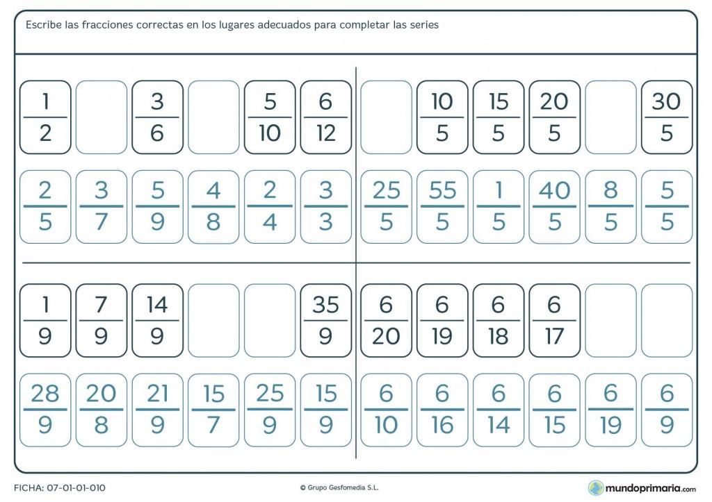 Ficha de series lógicas de fracciones para primaria