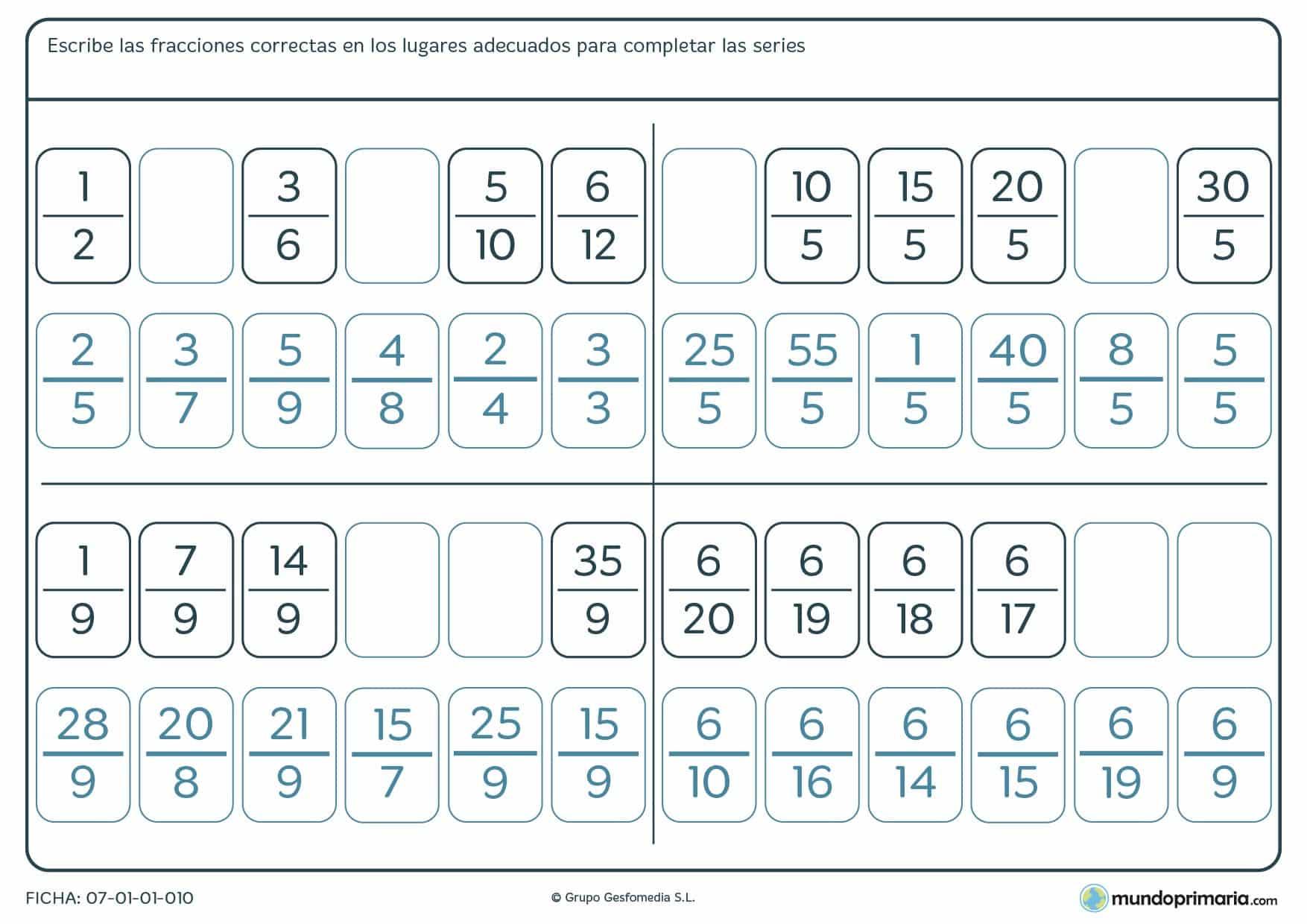 Ficha de series lógicas de fracciones para completar los espacios vacíos con las fracciones que crean.