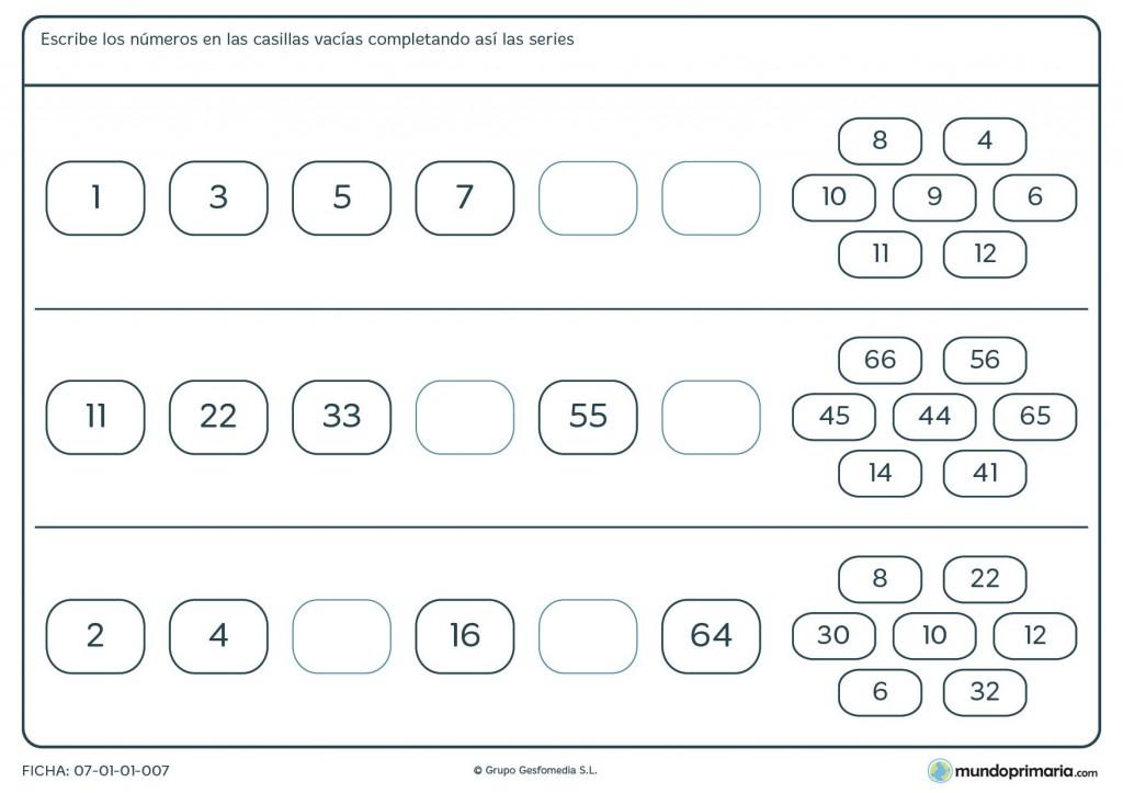 Ficha de series lógicas de números para primaria