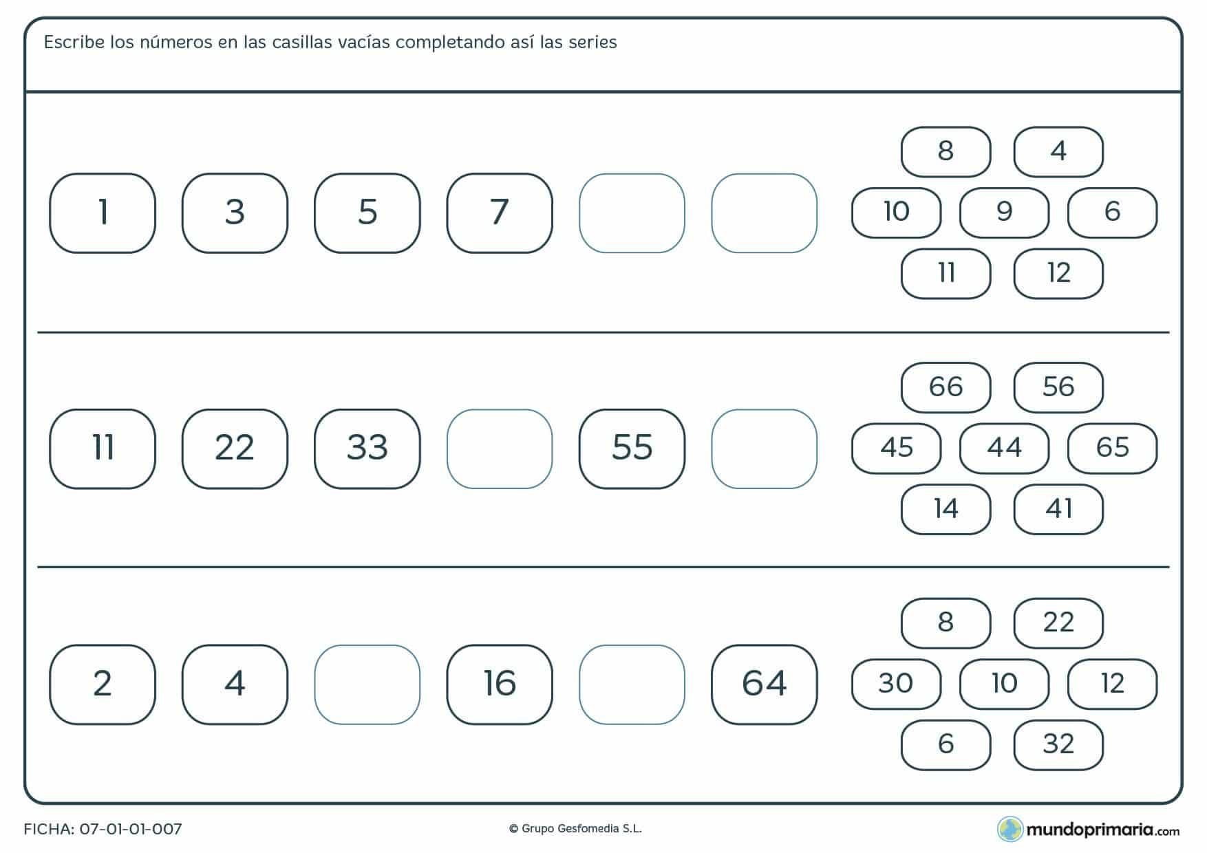 Ficha de series lógicas de números para rellenar eligiendo entre los números que te damos.