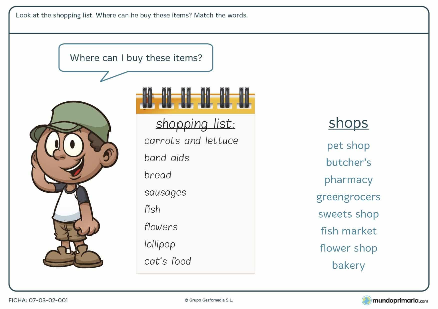 Esta ficha de shopping list es un ejercicio de repaso para saber donde comprar cada producto en inglés