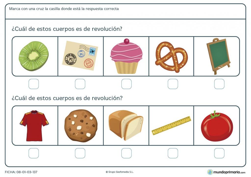 Ficha de sobre geométricos de revolución para primaria