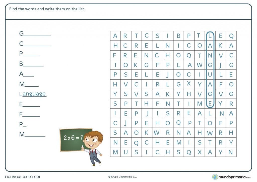 Ficha de sopa de letras en inglés para primaria