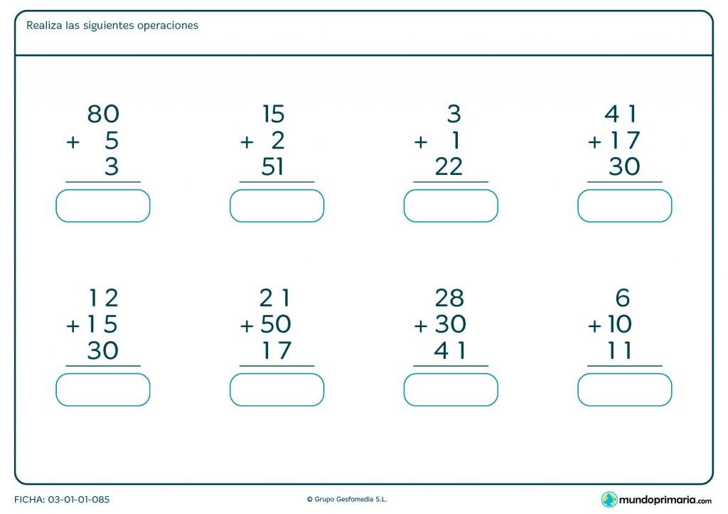Ficha de sumar 3 números de 2 cifras para primaria