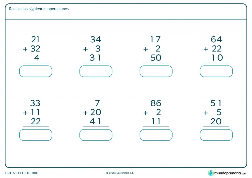 Ficha de sumar 3 números para niños de primaria