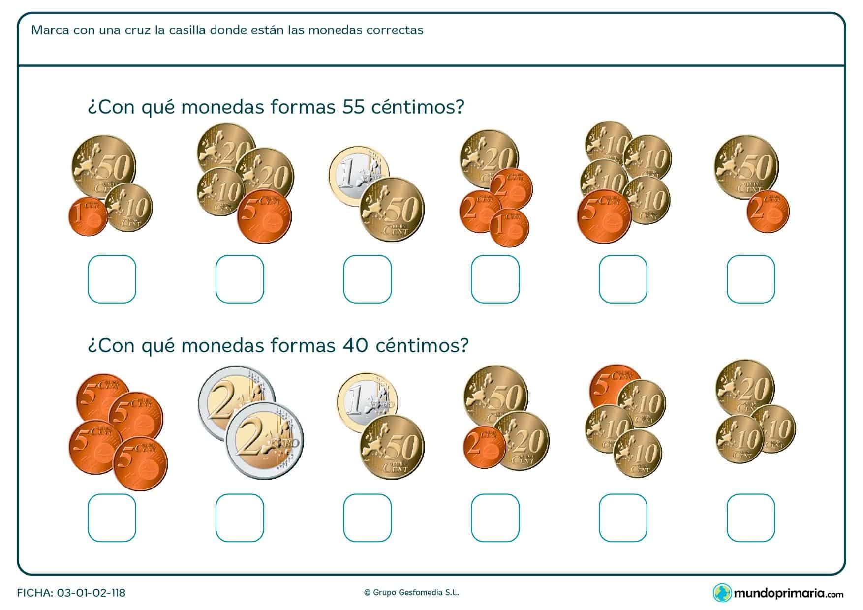 Ficha de sumar céntimos indicando cuál es el grupo que forman 55 céntimos y cuál el de 40 céntimos.