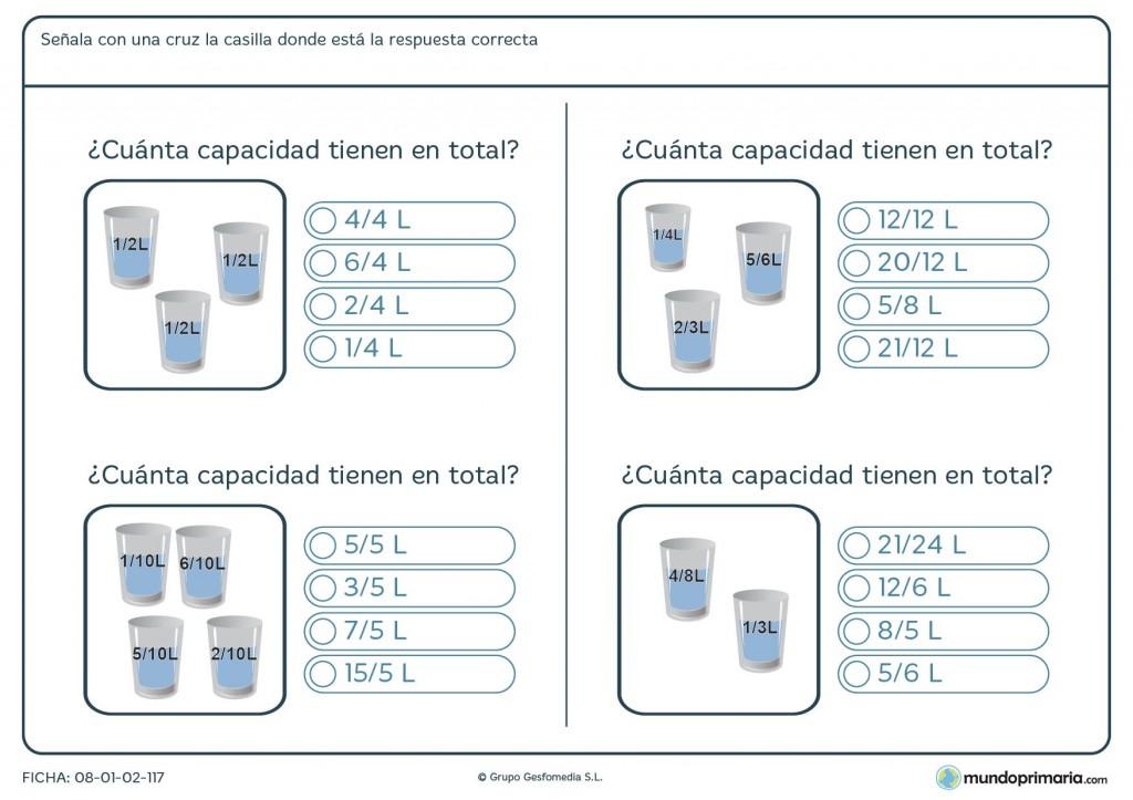Ficha de sumar capacidades para primaria