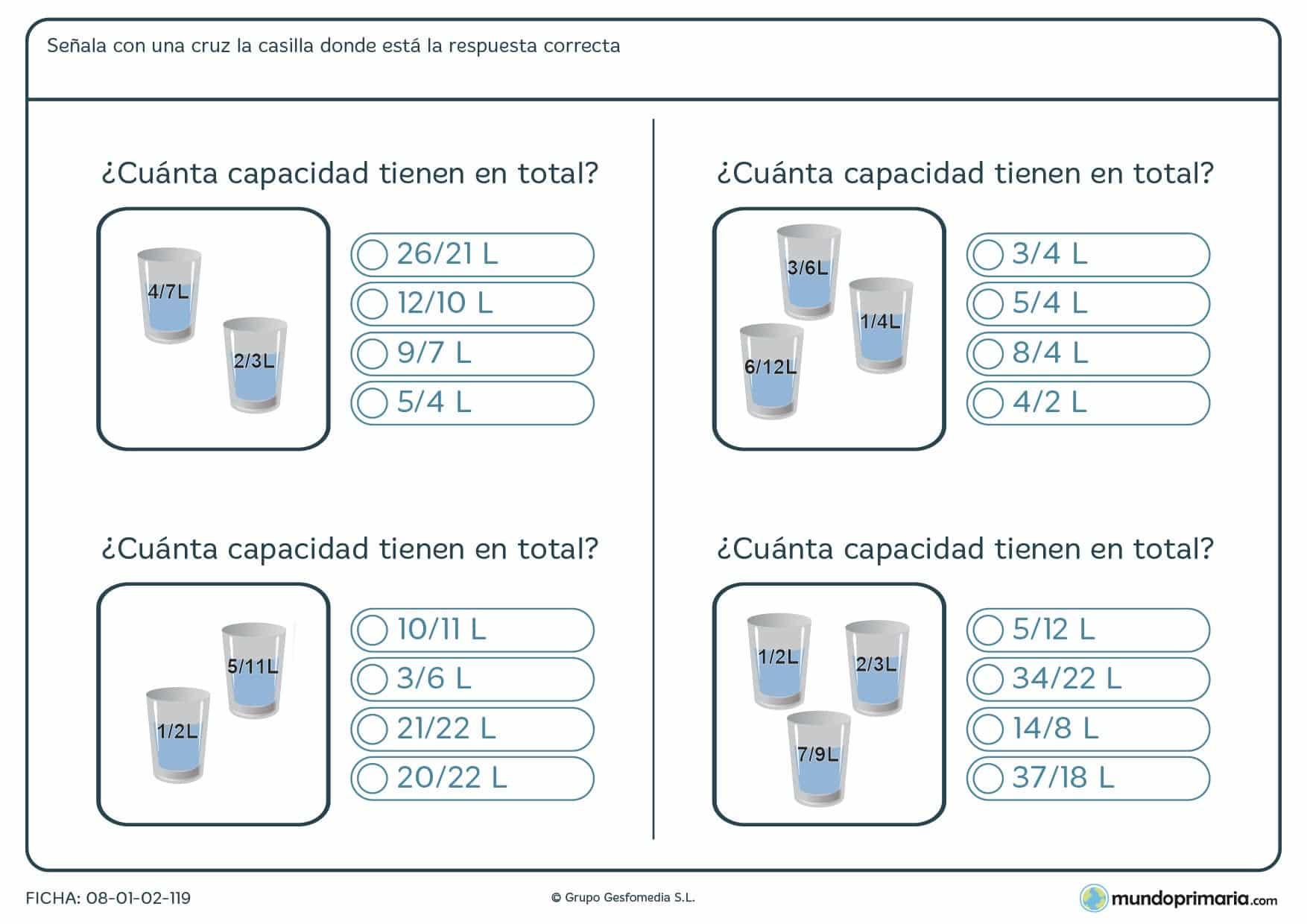 Ficha de sumar contenido de envases con líquidos y señalar la respuesta correcta.