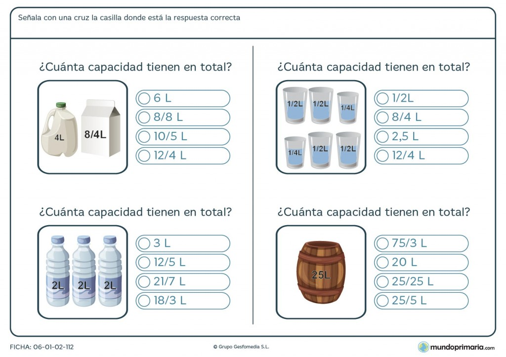 Ficha de sumar litros para primaria