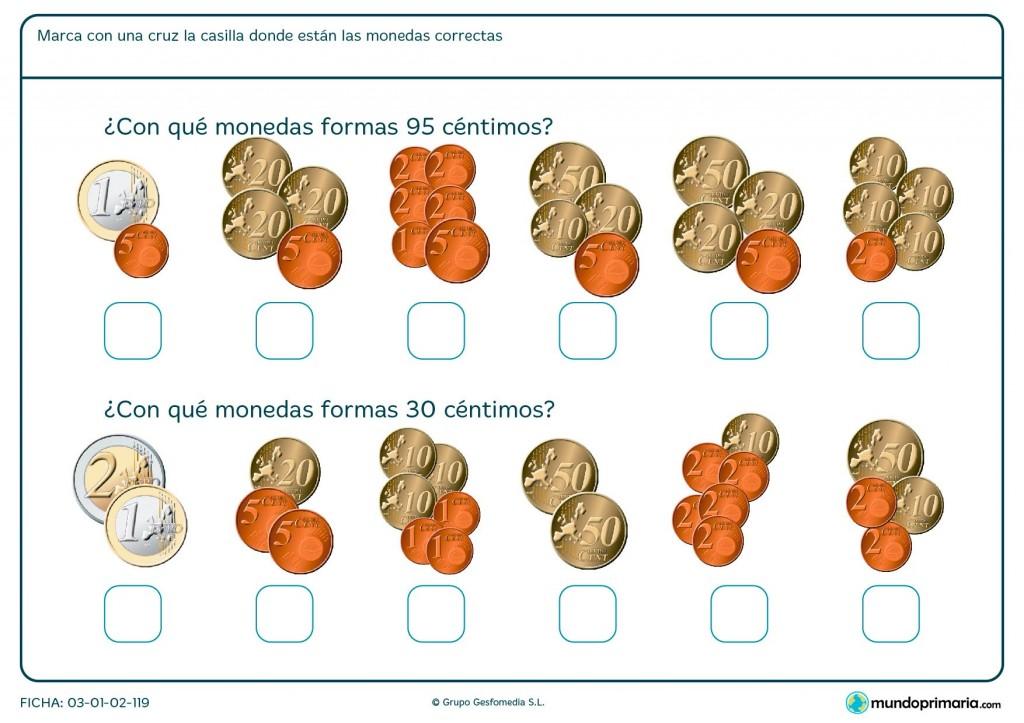 Ficha de sumar monedas