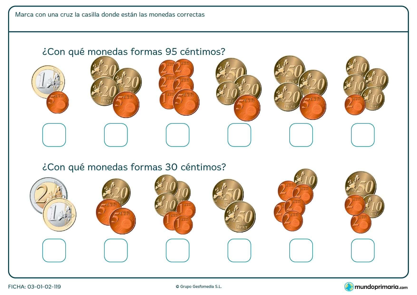Ficha de sumar monedas en la que tendrás que saber que grupo de ellas se corresponde con la cifra que te damos.
