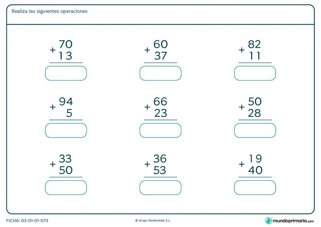 Ficha de sumar números de 2 cifras para primaria