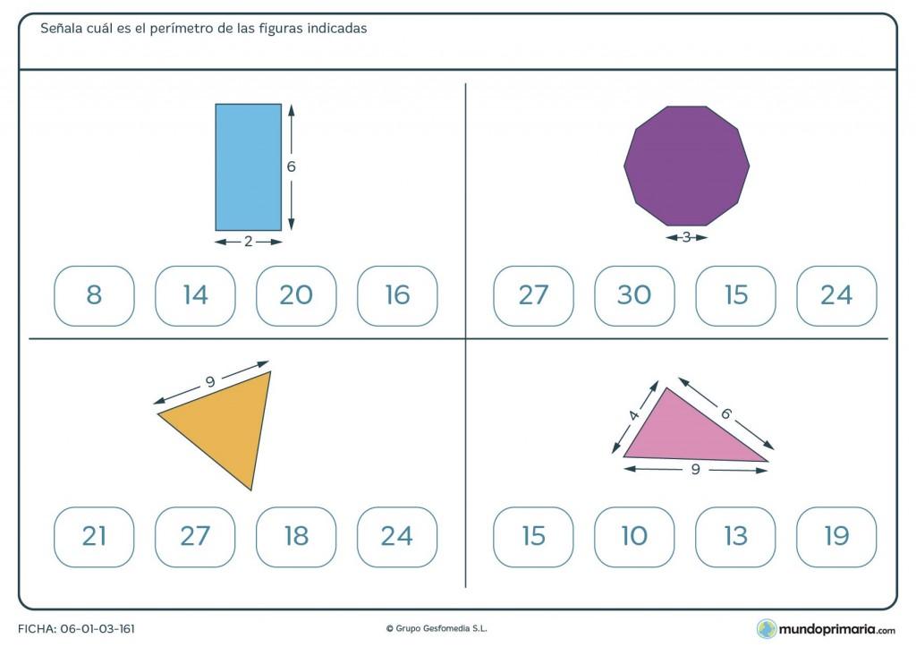 Ficha de sumar perímetro para primaria