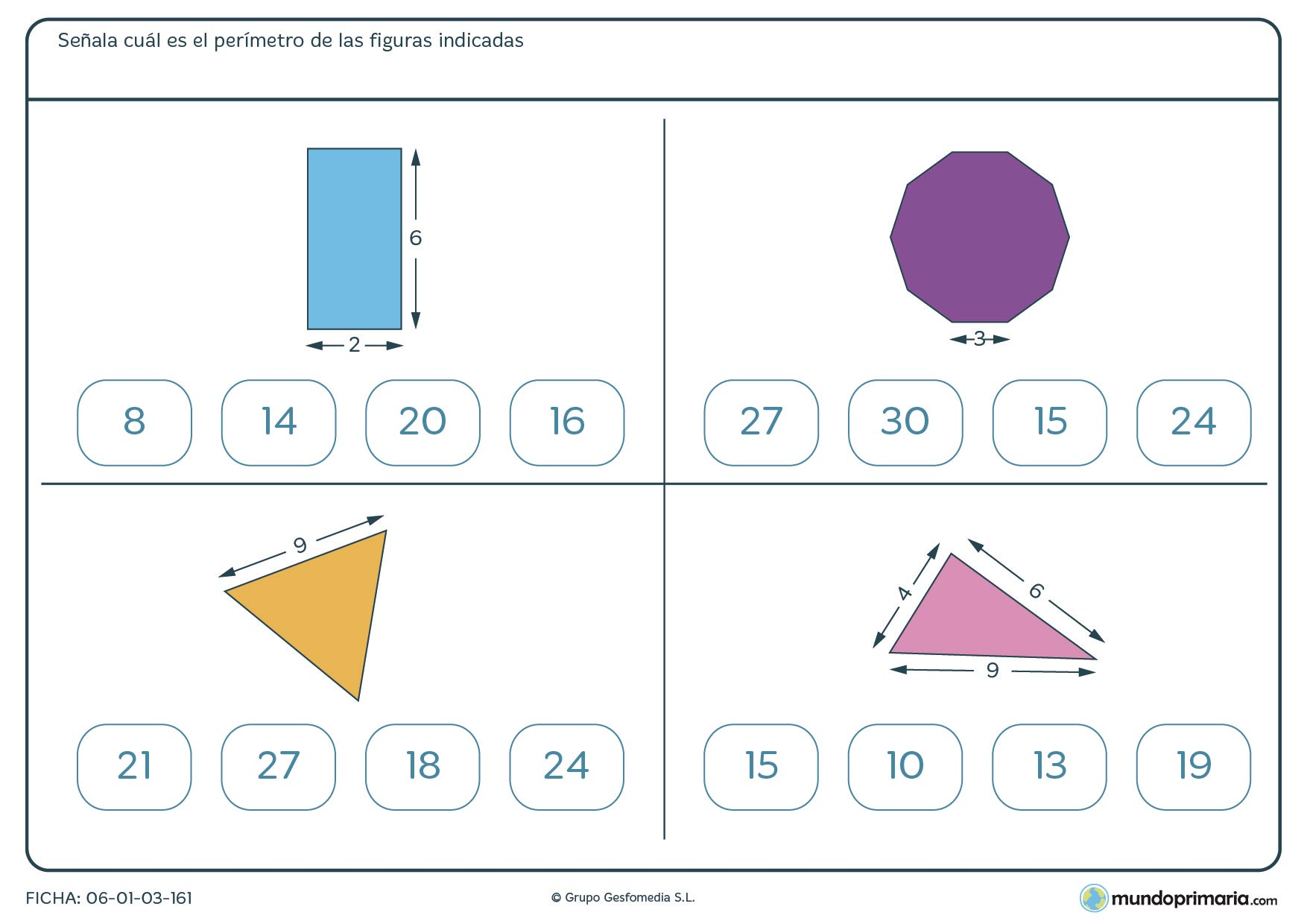 Ficha de sumar perímetro de figuras para sacar el resultado correcto que deberás marcar en la ficha.
