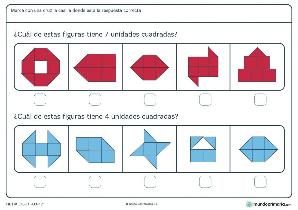 Ficha de sumar unidades cuadradas para primaria
