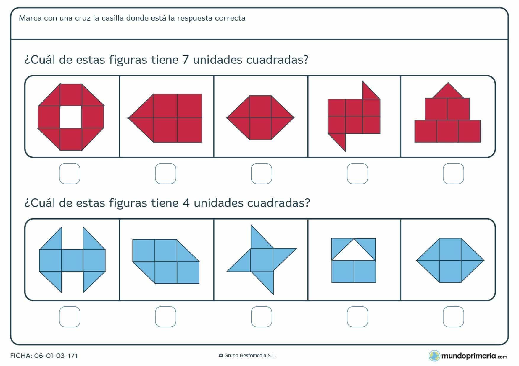 Ficha de sumar unidades cuadradas para marcar la respuesta sobre el total que te da esa suma.
