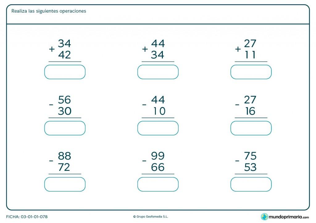 Ficha de sumas y restas de 2 cifras para primaria