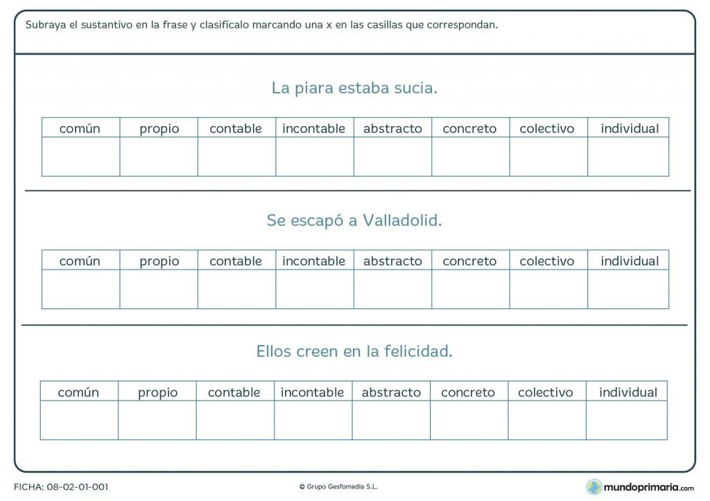 Ficha de sustantivos para primaria