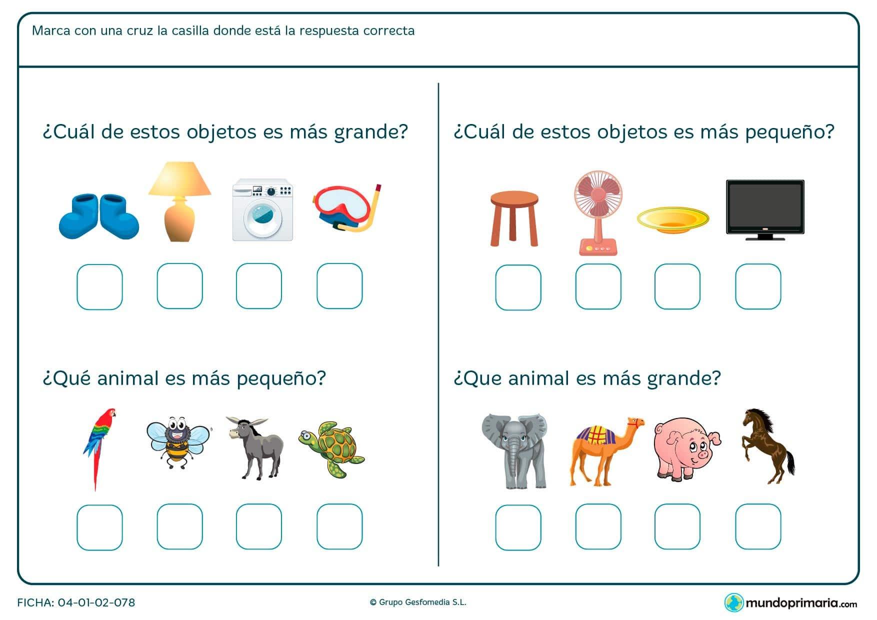 Ficha de tamaño en la que has de marcar el objeto o animal más grande o más pequeño.