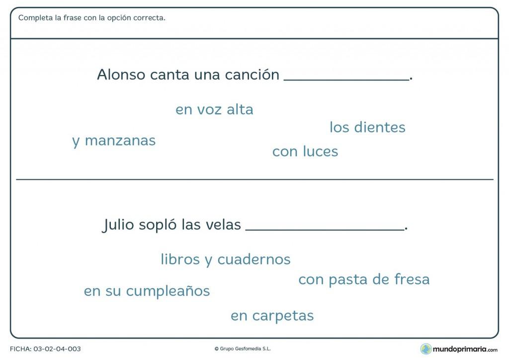 Ficha de terminar frases correctamente para primaria