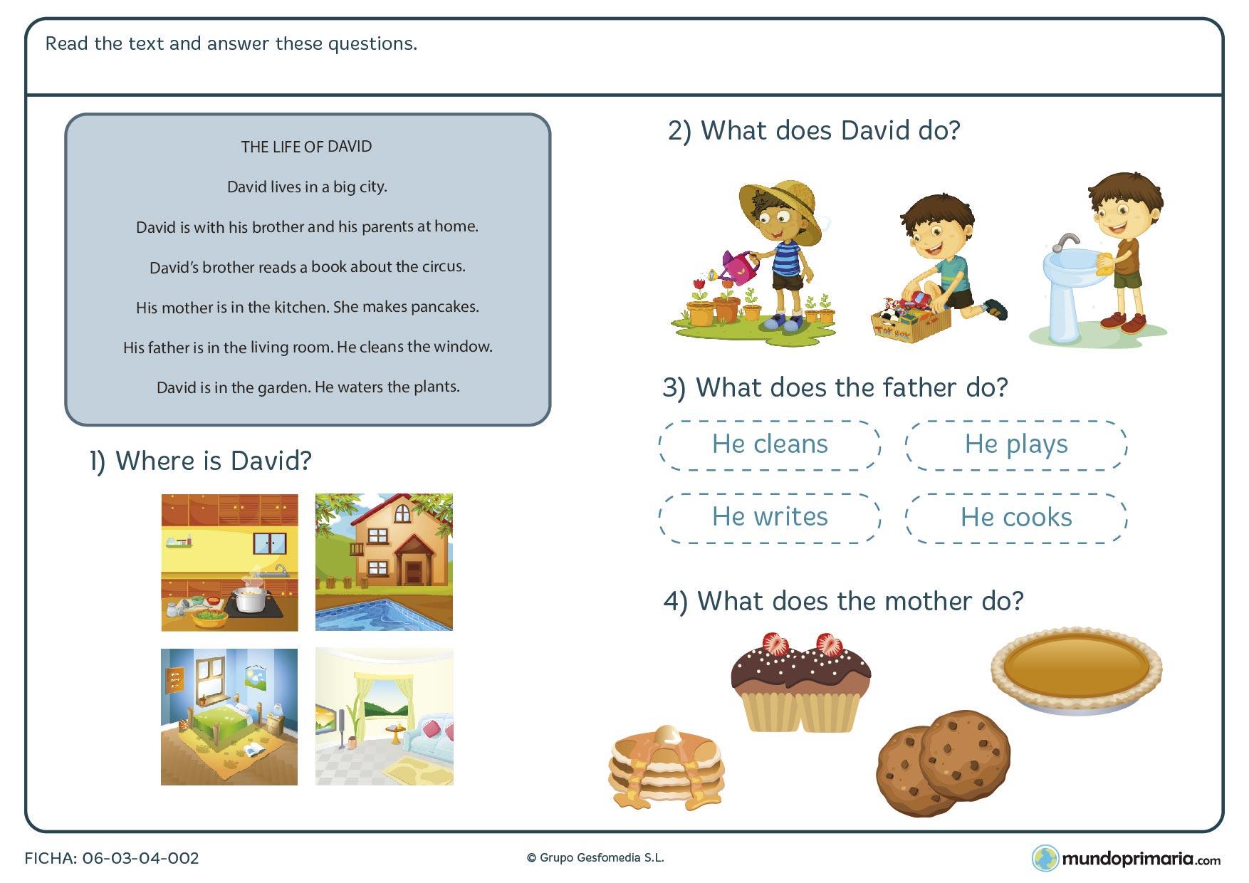 En la ficha de text about life of a boy tienes que responder a unas preguntas en inglés sobre un texto acerca de la vida de un chico