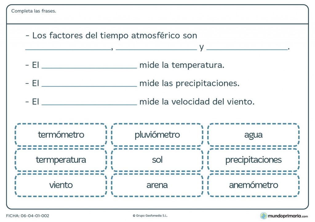 Ficha de tiempo atmosférico para primaria