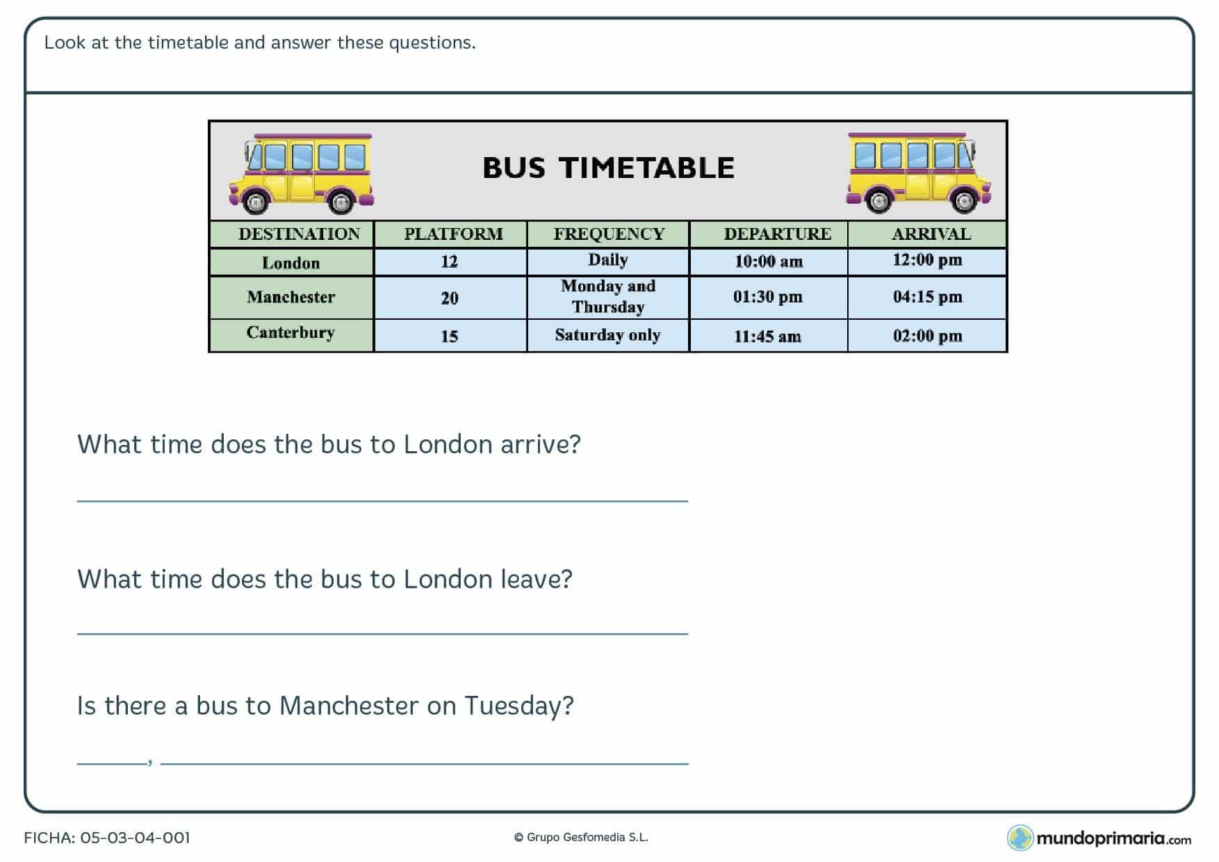 Ficha de timetable para aprender a leer un horario de autobús en inglés