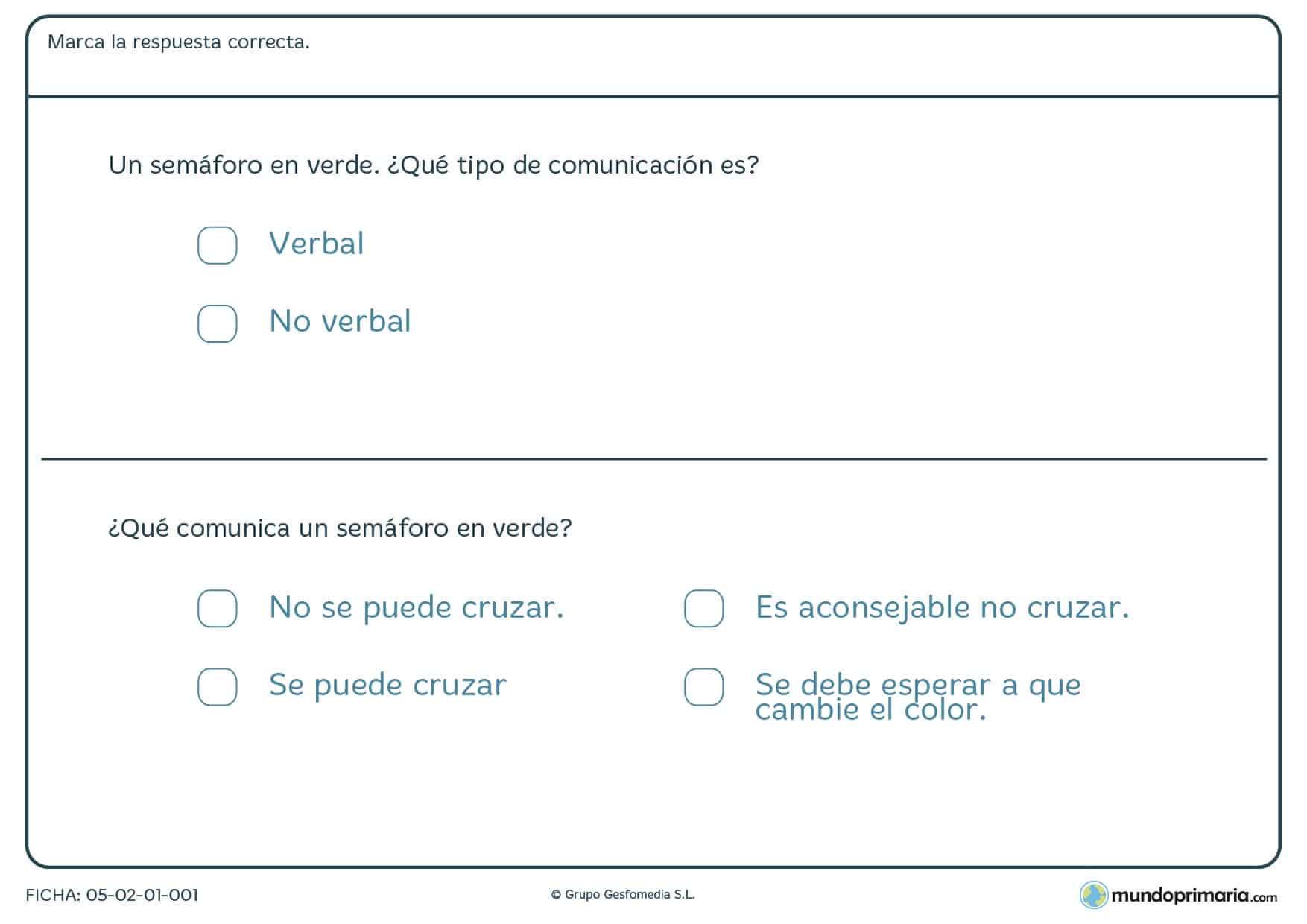 Ficha de tipos de comunicación en la que tienes que marcar si es o no verbal el ejemplo que te presentamos.