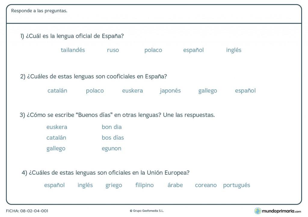 Ficha de tipos de lenguas para primaria