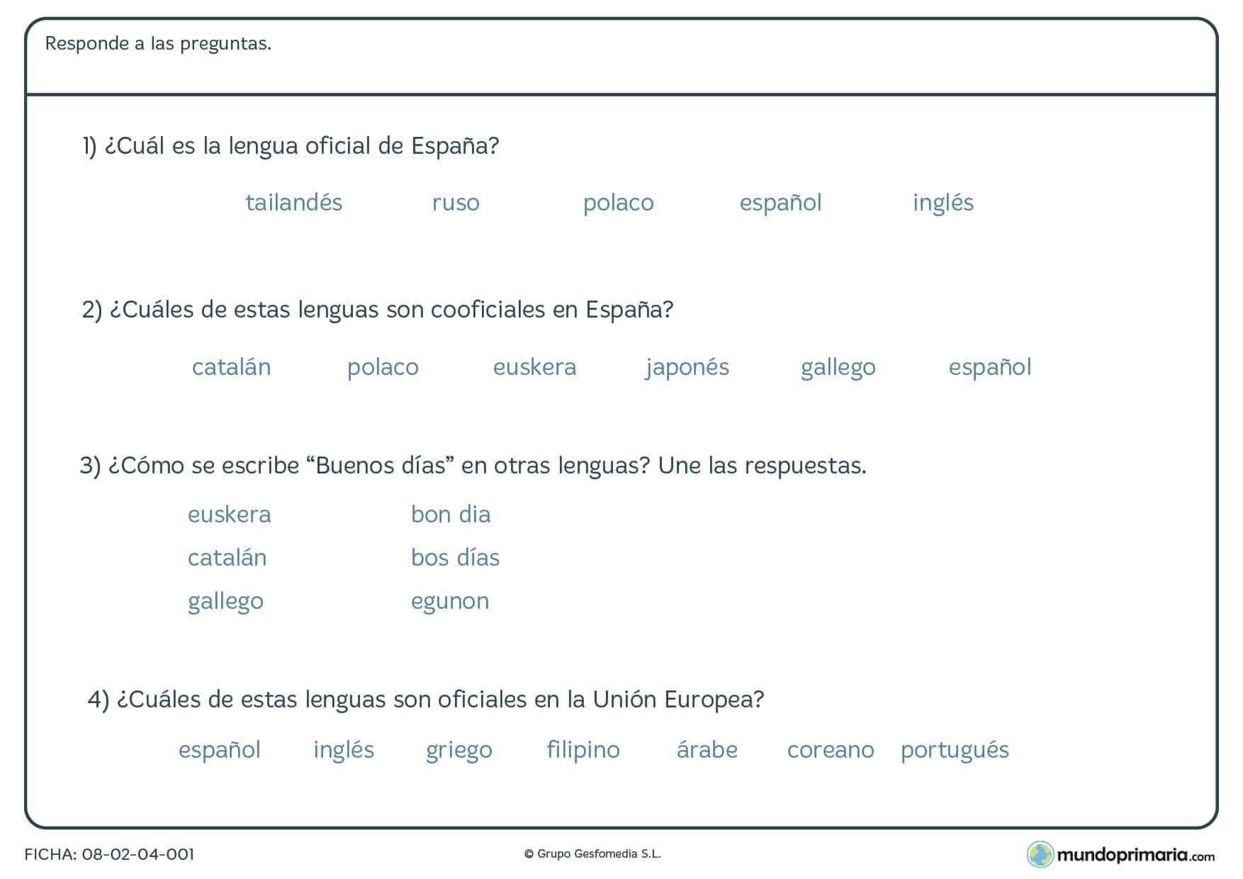 Ficha de tipos de lenguas en la que tienes que responder varias preguntas sobre los tipos de lenguas del mundo