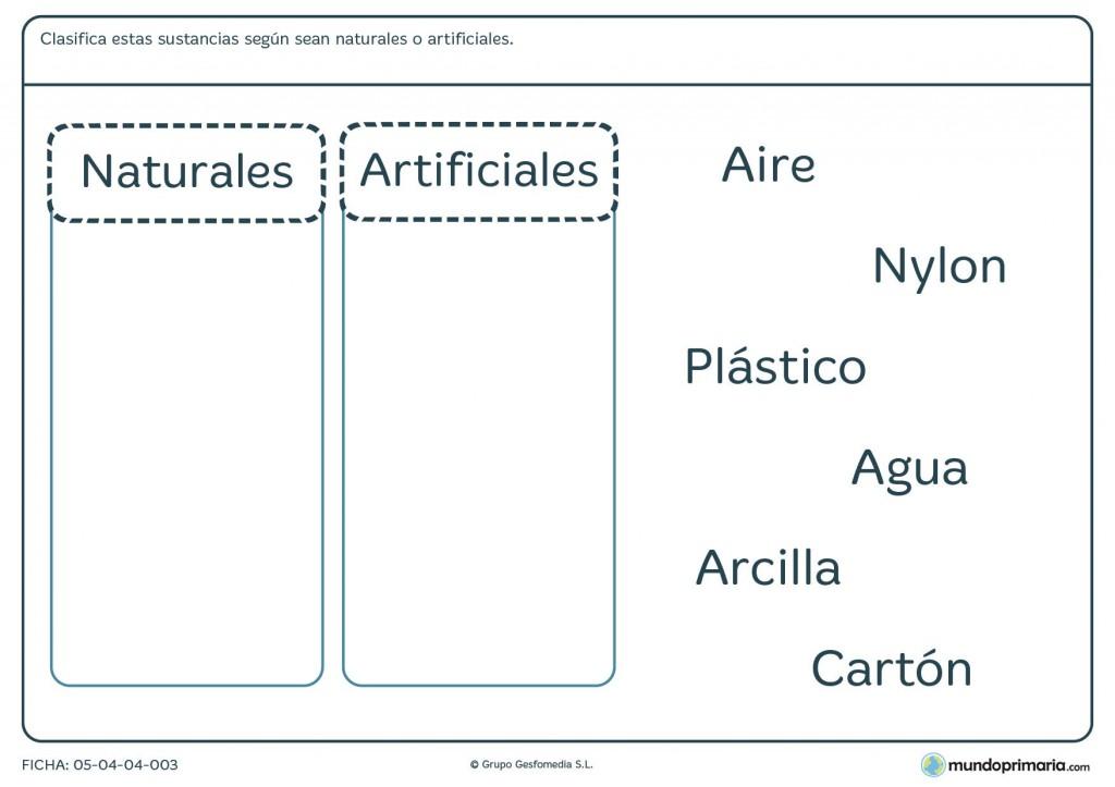 Ficha de tipos de sustancias para primaria