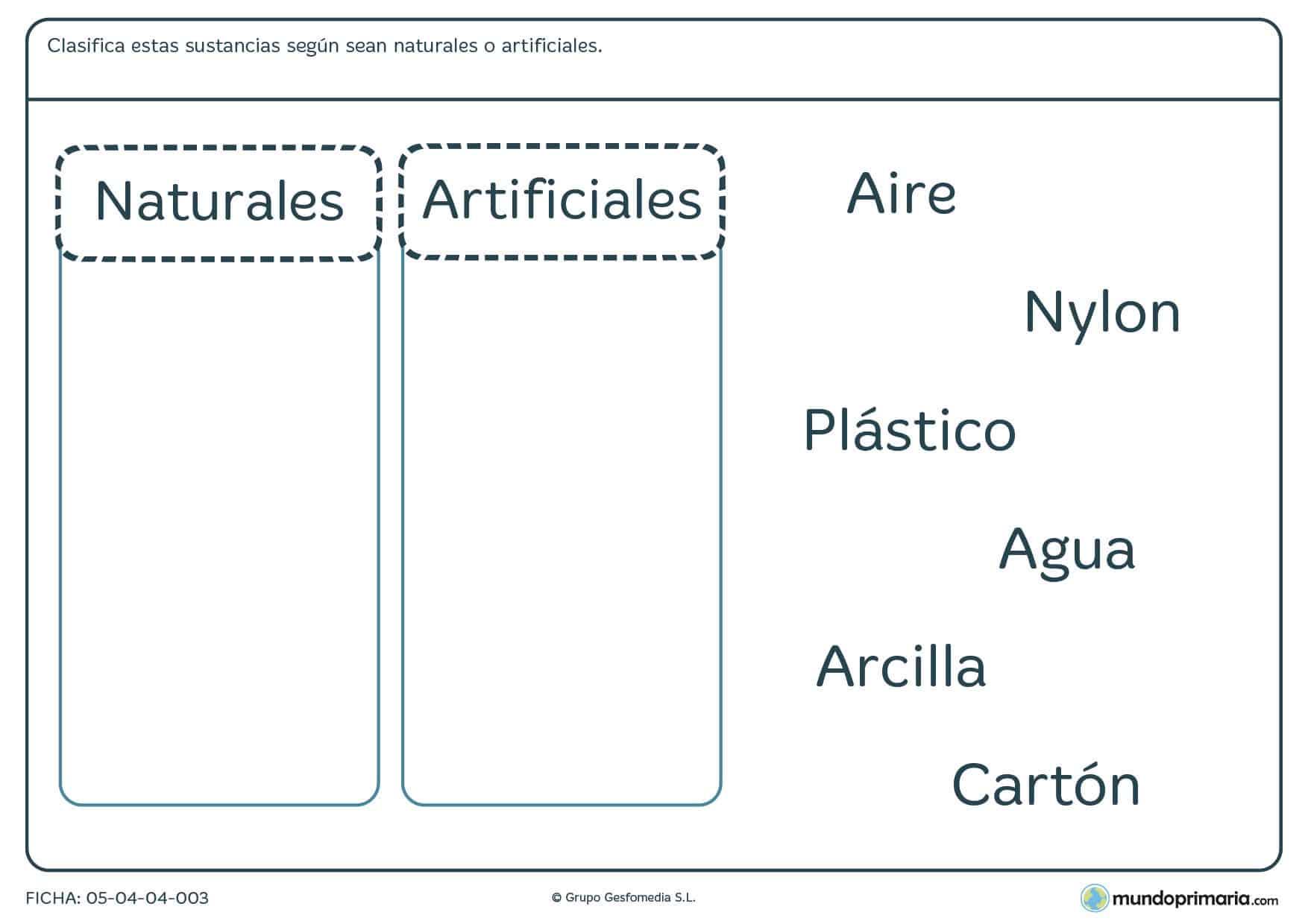 Ficha de tipos de sustancias para clasificar las que te mostramos ya sen naturales o artificiales