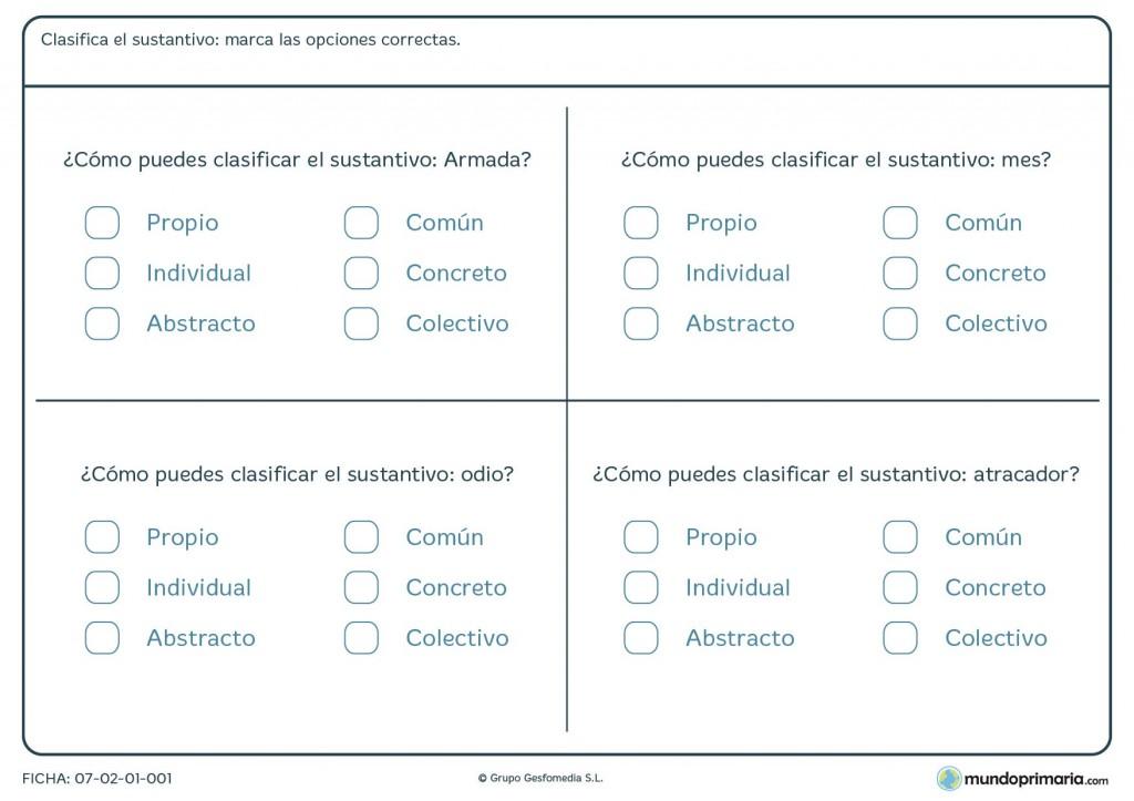 Ficha de tipos de sustantivos para primaria