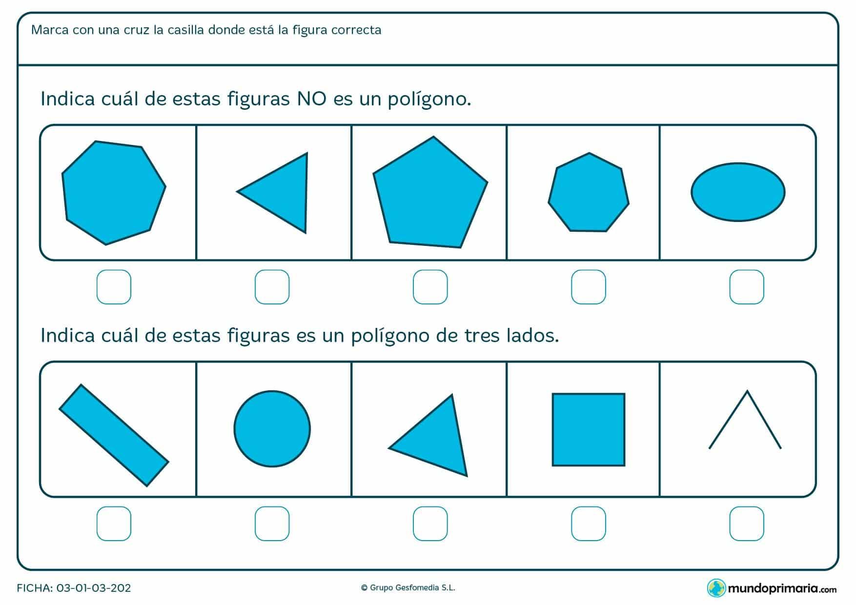 Ficha de tipos de tres lados en la que los niños de primaria realizan ejercicios de apoyo escolar