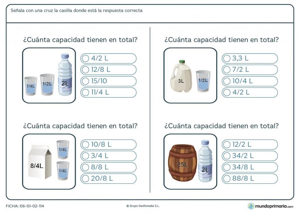 Ficha de total de litros para niños de 9 años