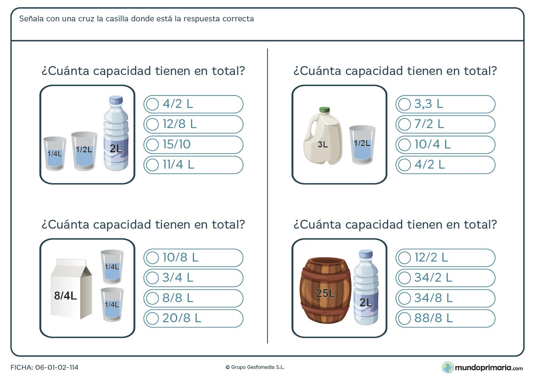 Ficha de total de litros que tienen las imágenes, suma y señala con una x la respuesta correcta.