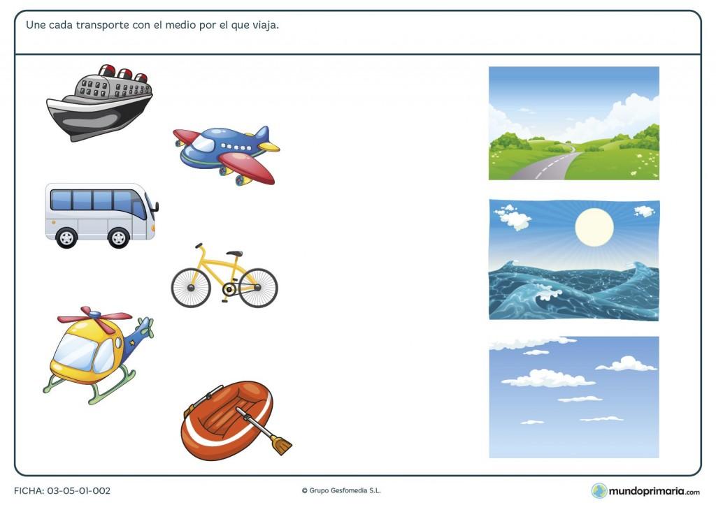 Ficha de transportes en su medio para primaria