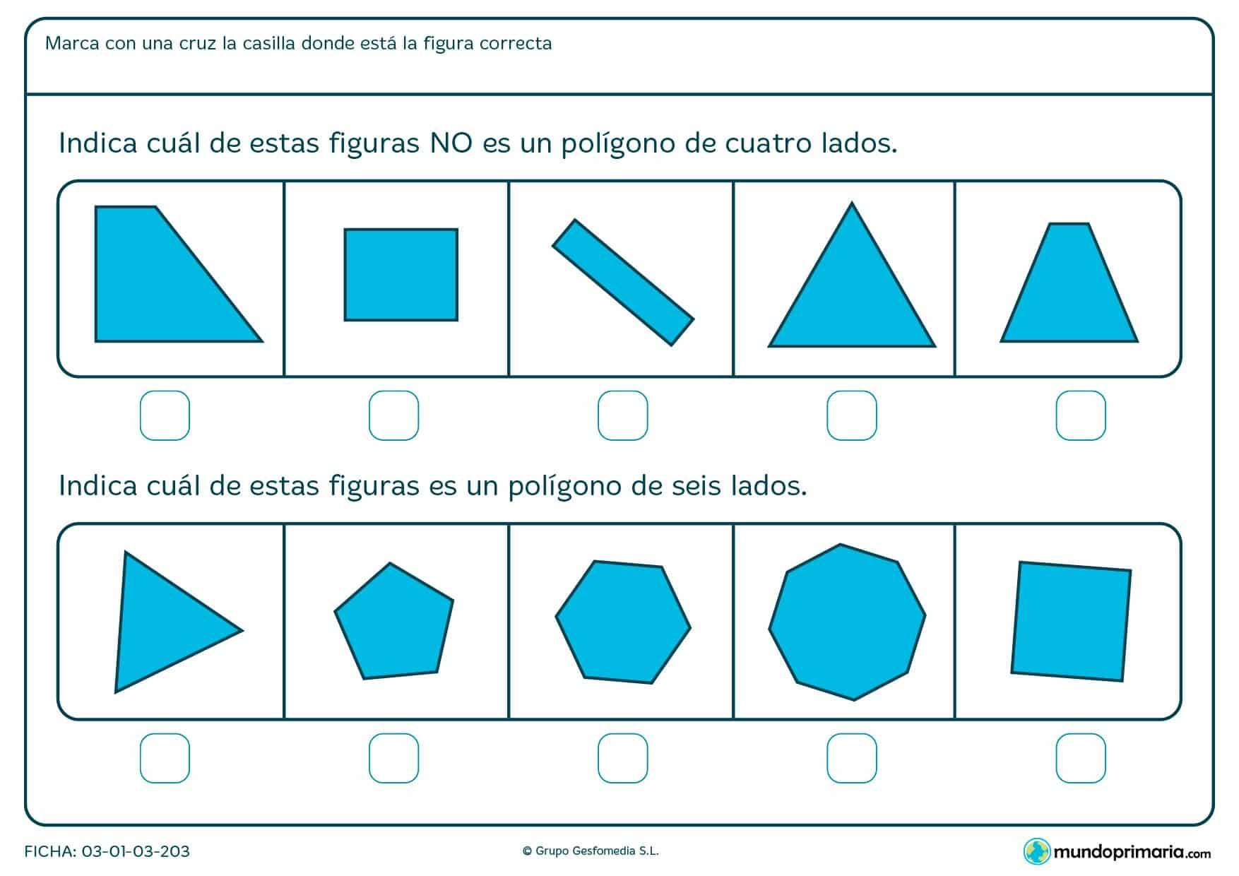 Ficha de trazados de cuatro lados en la que los niños del primer curso de primaria refuerzan sus conocimientos con ejercicios prácticos para el apoyo escolar