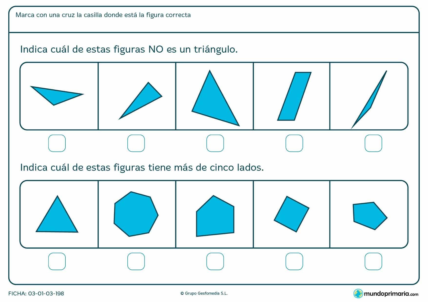 Ficha de triángulos en la que los niños reciben apoyo escolar mediante ejercicios prácticos