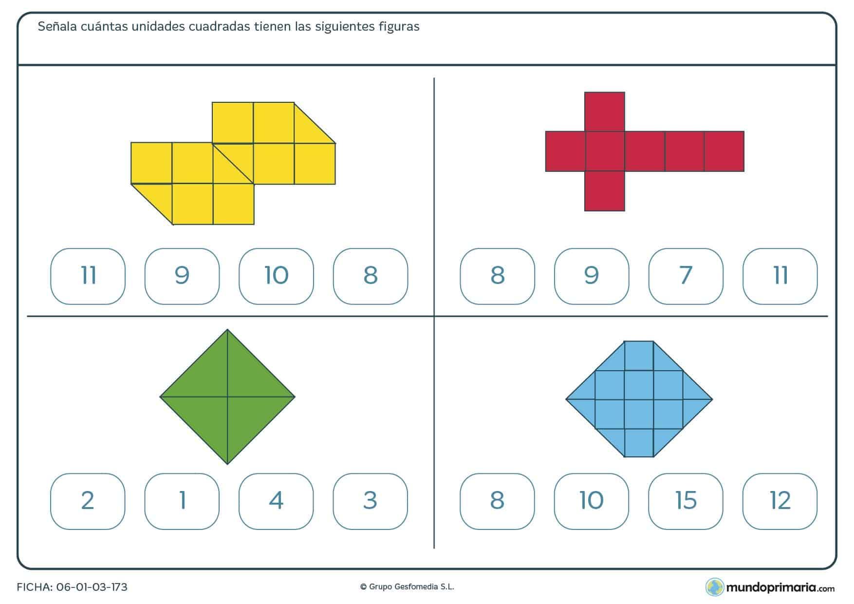 Ficha de unidades cuadradas de figuras de diferentes formas divididas en cuadrados y medios cuadrados.