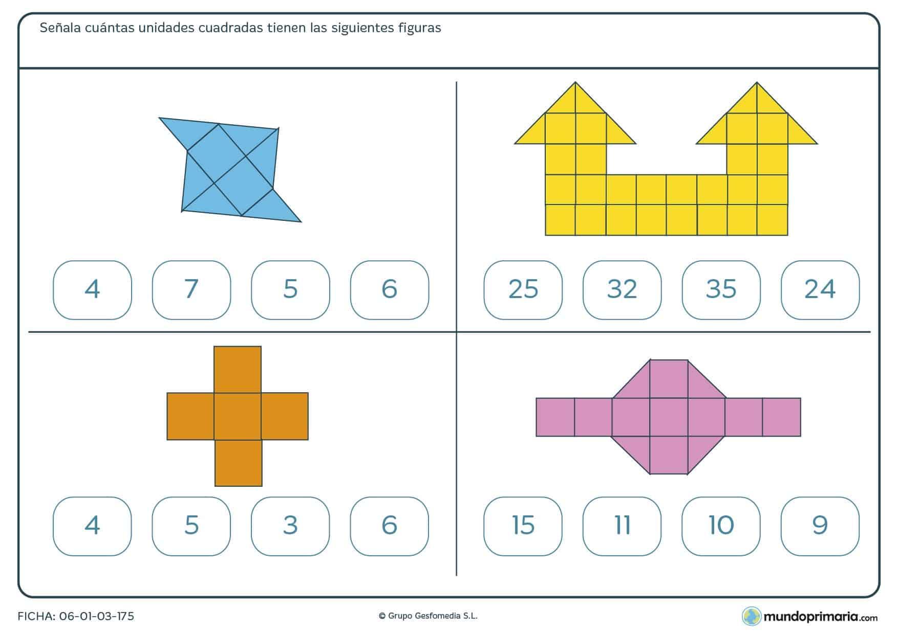 Ficha de unidades cuadradas en figuras que debes contar para resolver el número total que hay en cada dibujo.