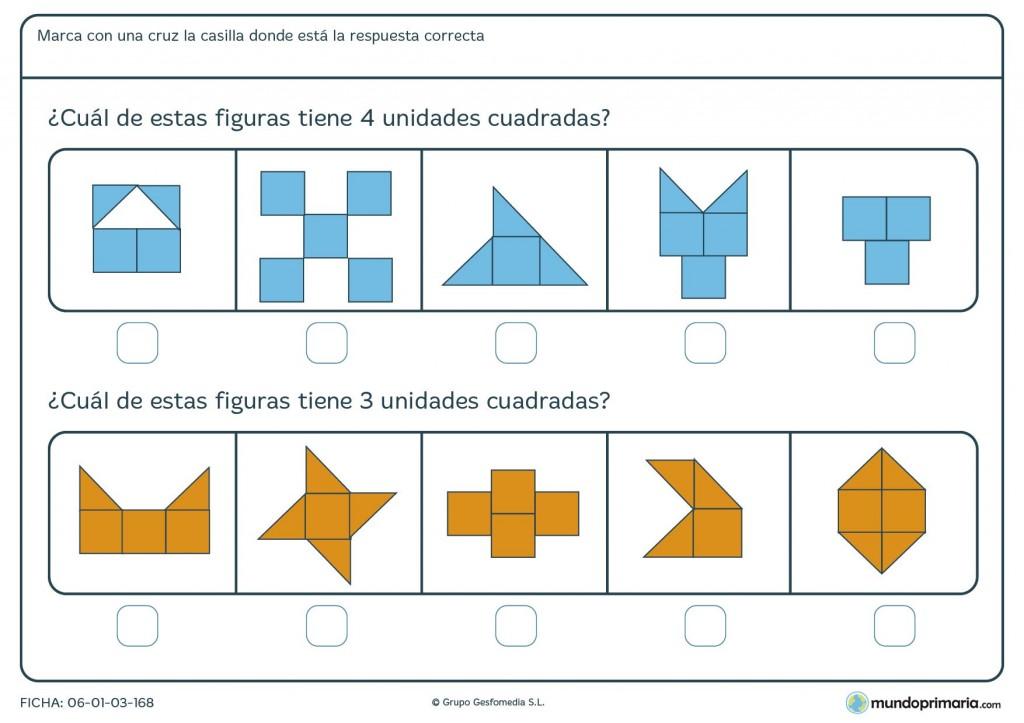 Ficha de unidades cuadradas para niños de primaria