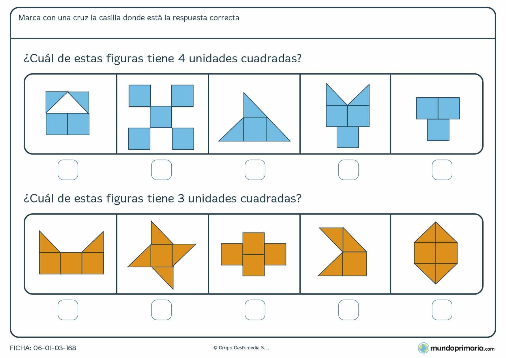 Ficha de unidades cuadradas en las que debes contar los cuadrados que las componen y marcar la cifra correcta.