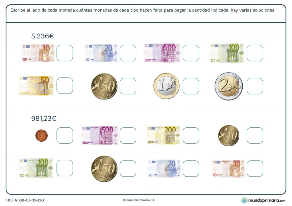 Ficha de usar billetes para primaria
