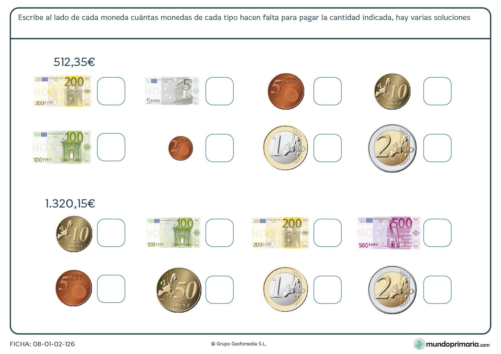 Ficha de uso del dinero en la que tendrás que decir cuántas monedas necesitas para llegar a una cantidad.