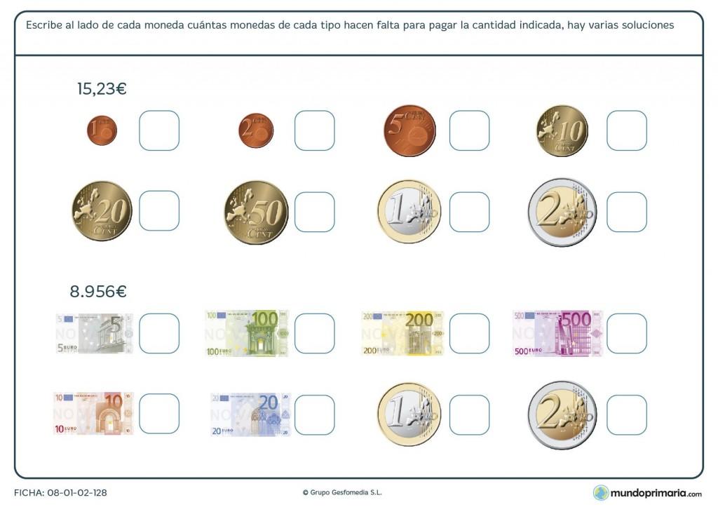 Ficha de utilizar monedas para niños de primaria